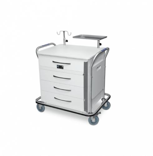 Carro de Emergência p/ Sala de Ressonância Magnética c/ 4 Rod. Giratórios
