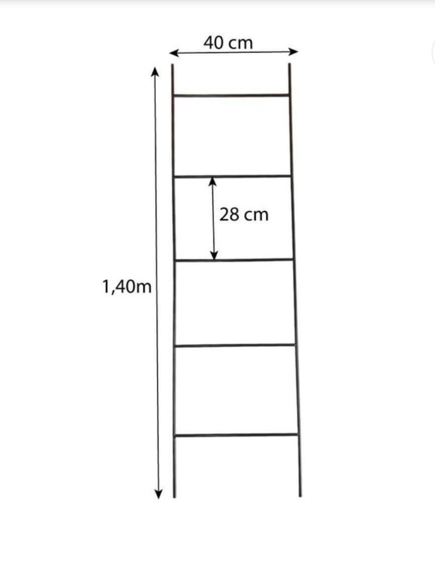 Cabideiro Escada Industrial de Ferro Preto