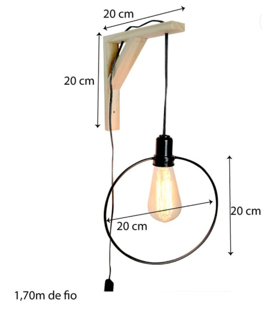 Luminária Decorativa Circular Industrial Natural e Preto