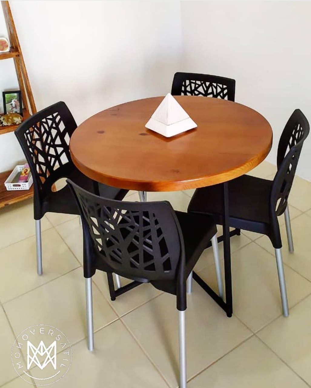 Mesa de Jantar Redonda 4 lugares Madeira Maciça Pinus 90 cm