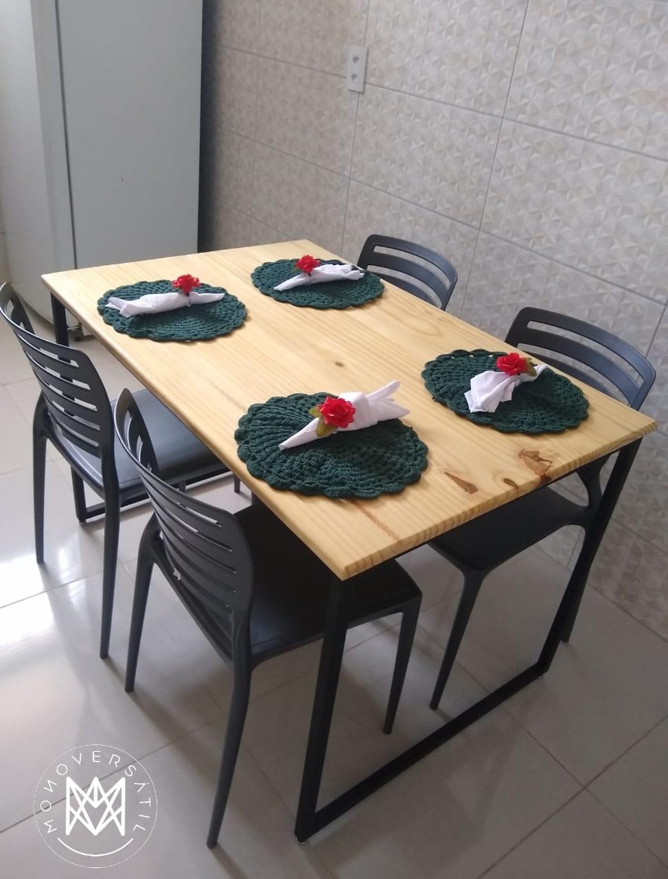 Mesa jantar madeira pinus maciça e metalon