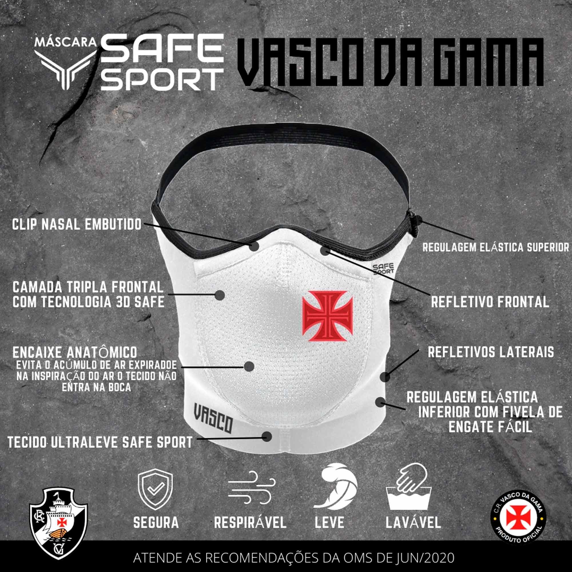 Mascara Safe Sport do Vasco Branca