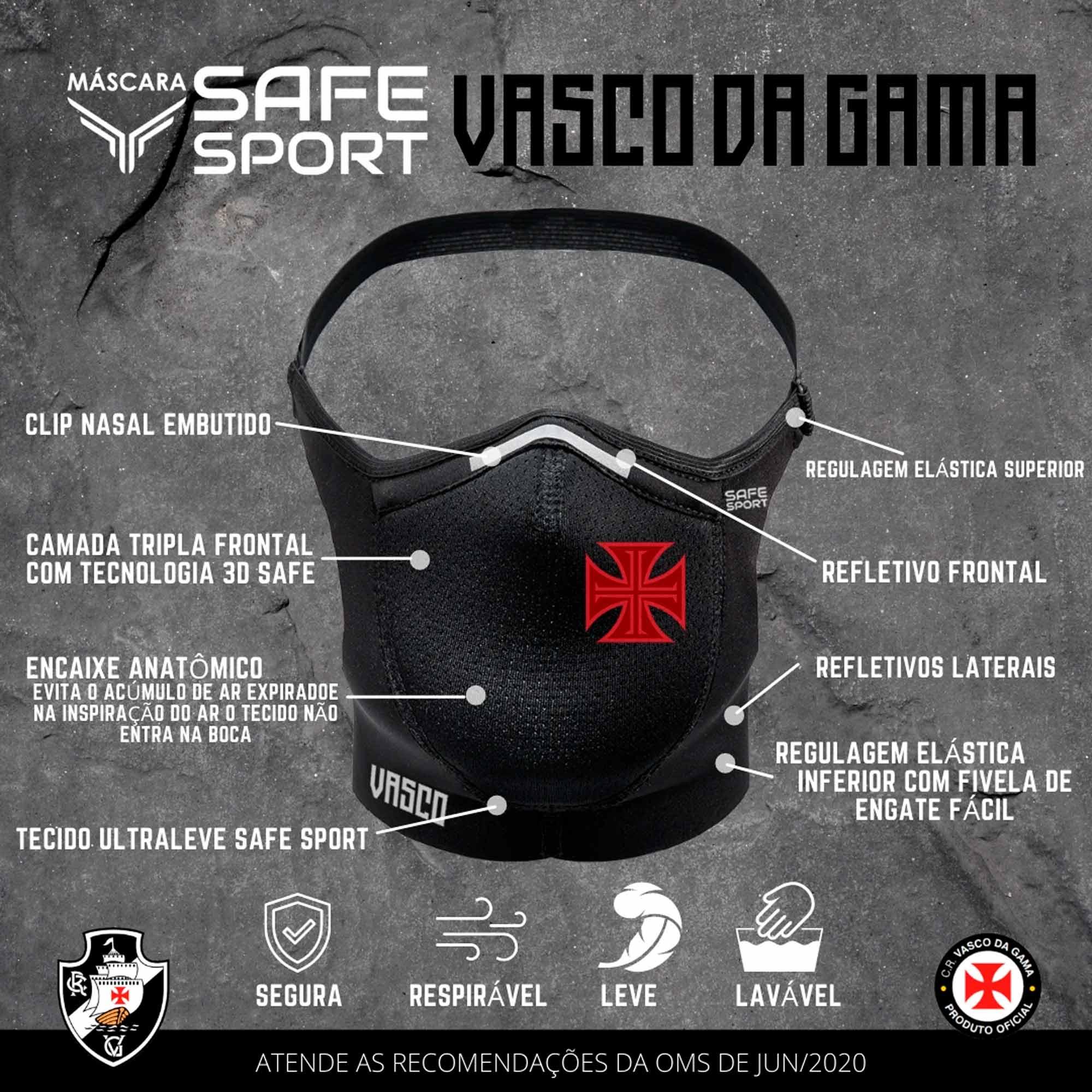 Máscara Safe Sport do Vasco Preta