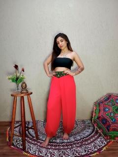 Calça Indiana Thai Bordado Vermelha