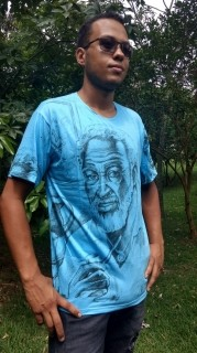 Camiseta Orixas Preto Veio Com São Jorge Azul G