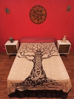 Colcha Indiana Casal Árvore Da Vida Marmorado Cobre Leito Painel
