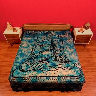 Colcha Indiana Casal Buda Azul Cobre Leito Painel