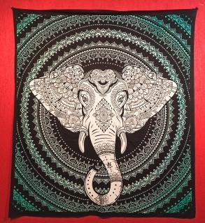 Colcha Indiana Casal Elefante Cobre Leito Painel