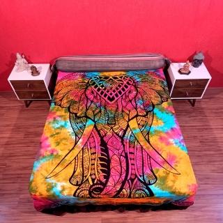 Colcha Indiana Casal Elefante Tie Dye