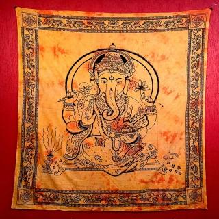Colcha Indiana Casal Ganesha Alaranjado Cobre Leito Painel