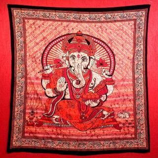 Colcha Indiana Casal Ganesha Vermelho Cobre Leito Painel