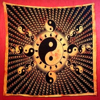 Colcha Indiana Casal Yin Yang Amarela Cobre Leito Painel