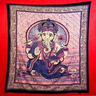Colcha Indiana Casal Ganesha Rosa Cobre Leito Painel