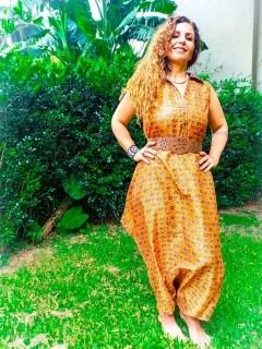 Macacão Indiano Saruel Thai Aladdin Mostarda