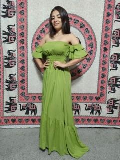 Vestido Cigana Longo Com Bojo Verde Boho Premium