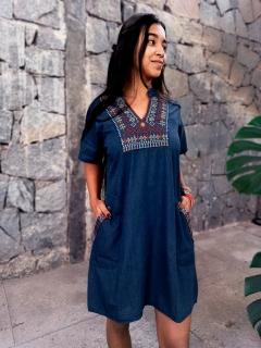 Vestido Indiano Curto Bordado Jeans Amarelo