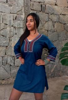 Vestido Indiano Curto Bordado Jeans Vermelho