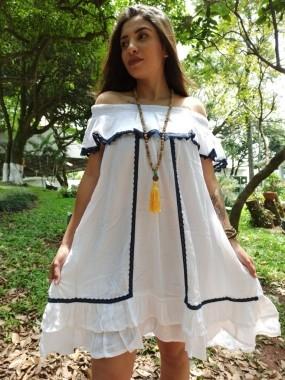 Vestido Indiano Curto Branco Premium Exclusivo