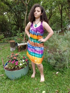 Vestido Indiano Curto Tie Dye Violeta Premium