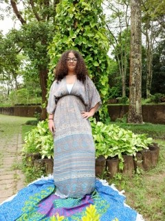Vestido Indiano Longo Manga Oriental Fenda Seda Azul Premium
