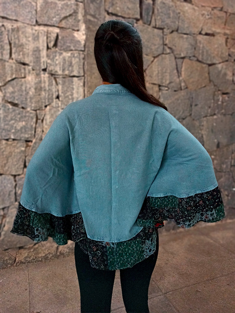 Bata Poncho Indiano Stone Gola Azul Premium