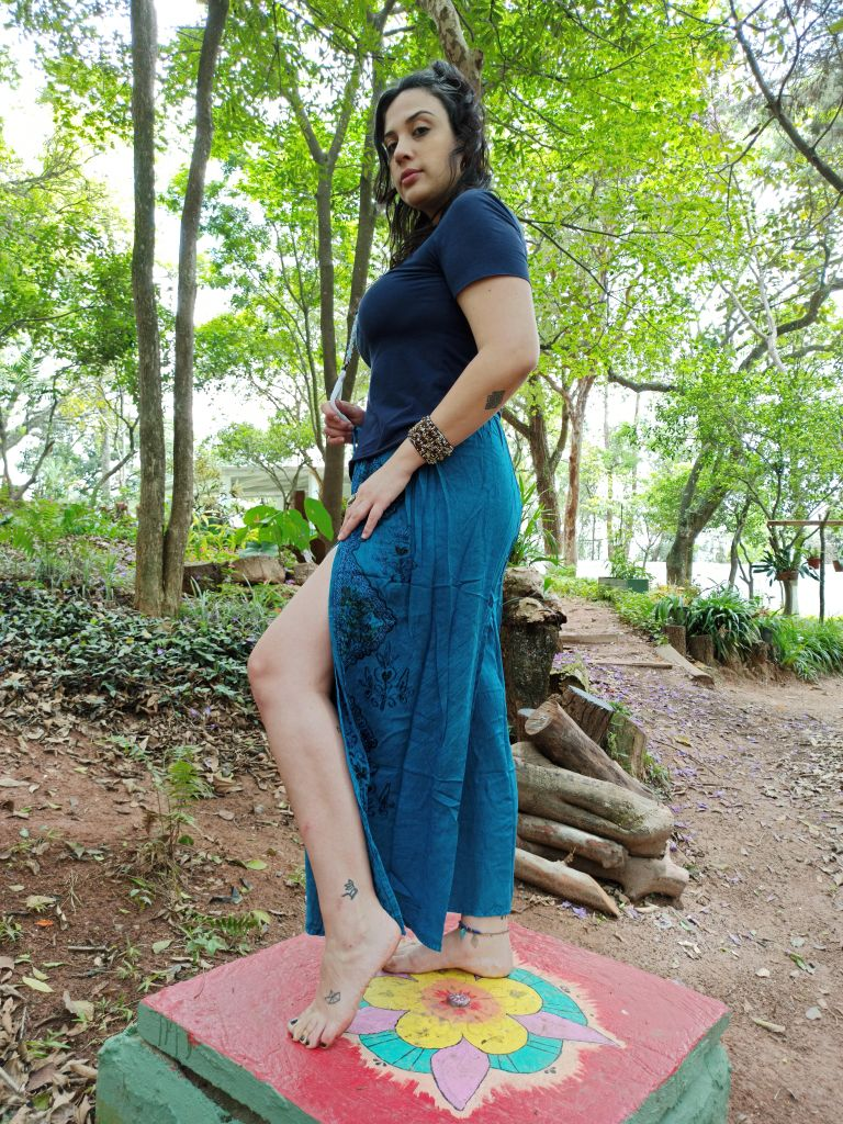 Calça Indiana Pantalona Stone Azul Fenda Premium