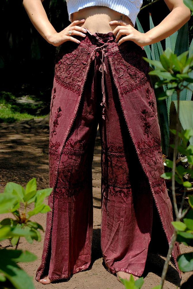 Calça Indiana Pantalona Stone Fenda Goiaba