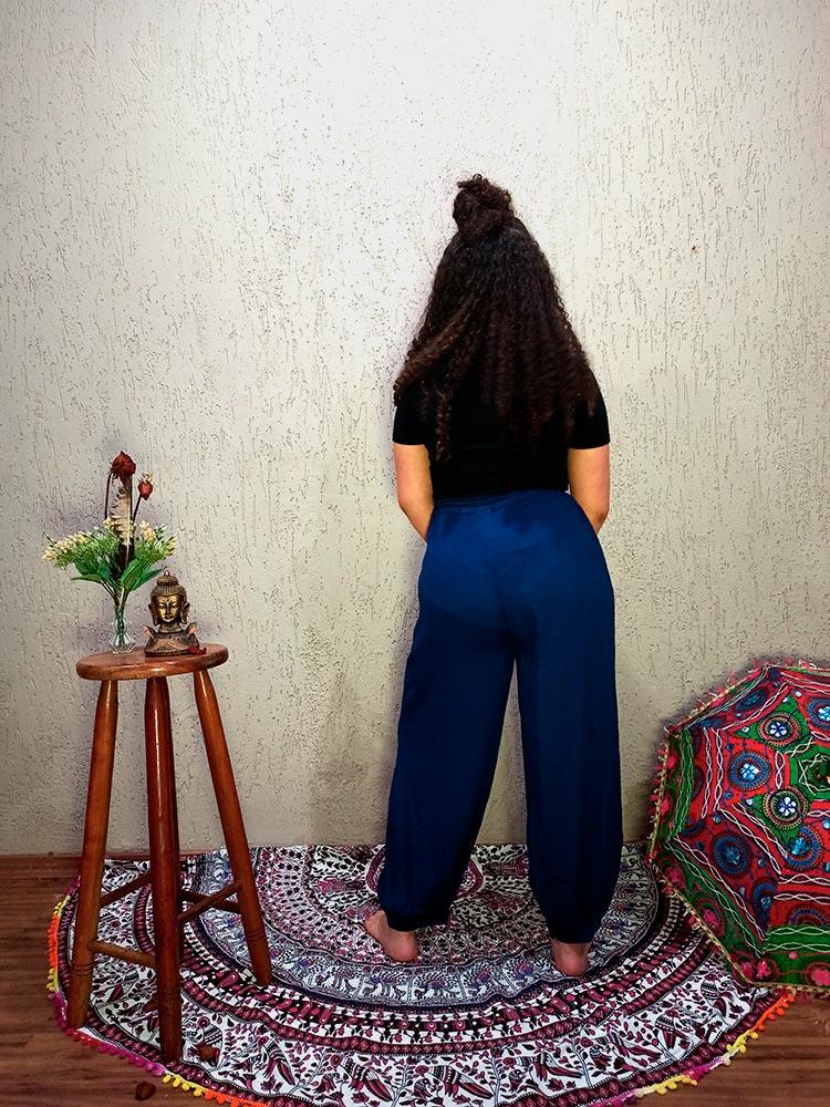 Calça Indiana Thai Bordado Azul