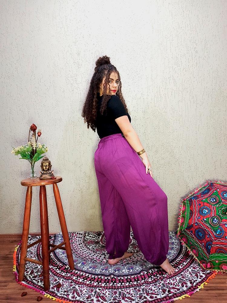 Calça Indiana Thai Bordado Violeta