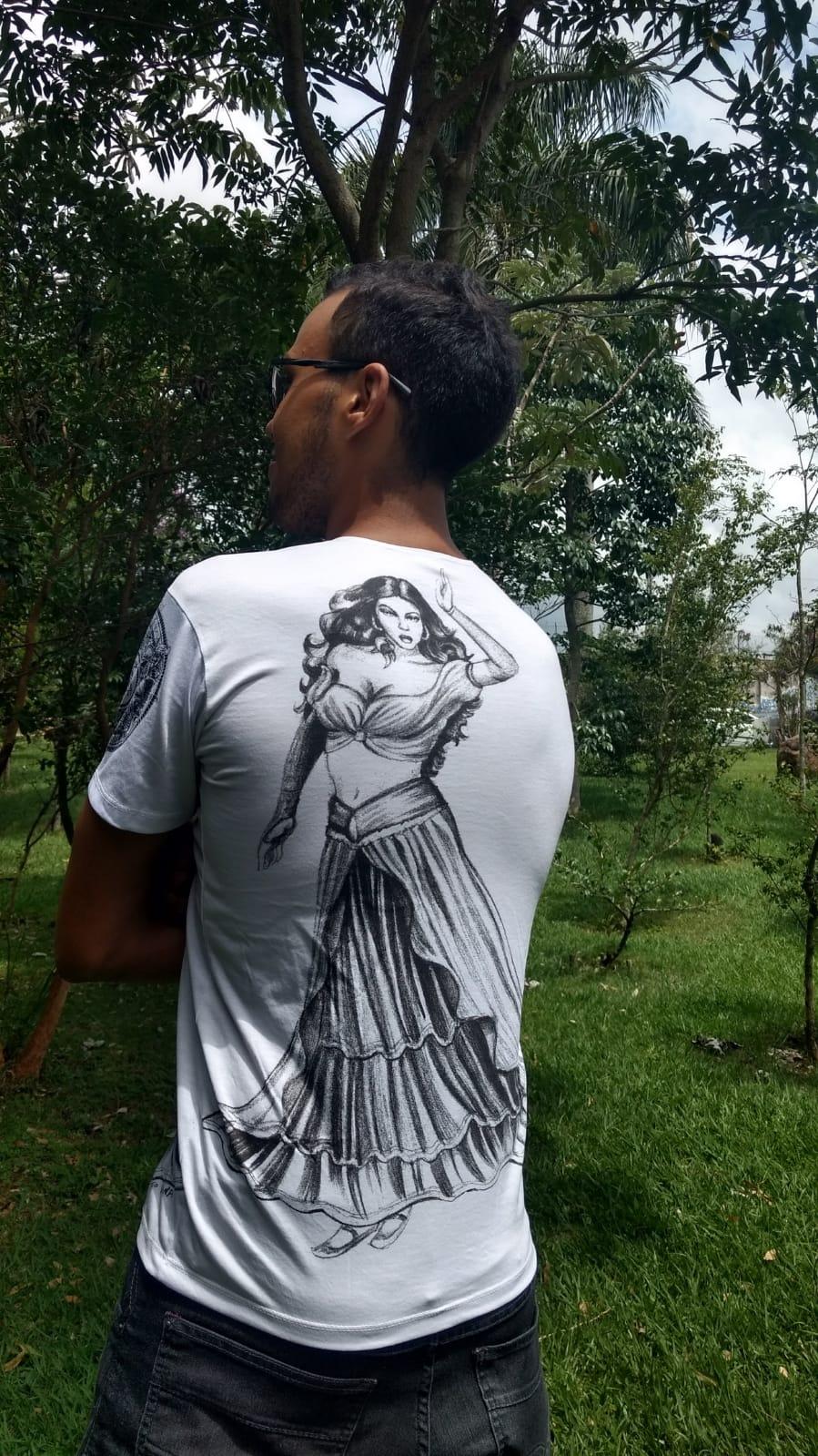 Camiseta Orixas Yemanjá Preto E Branco