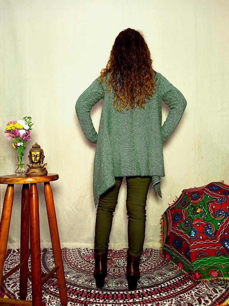 Cardigan Boho De Tricot Verde