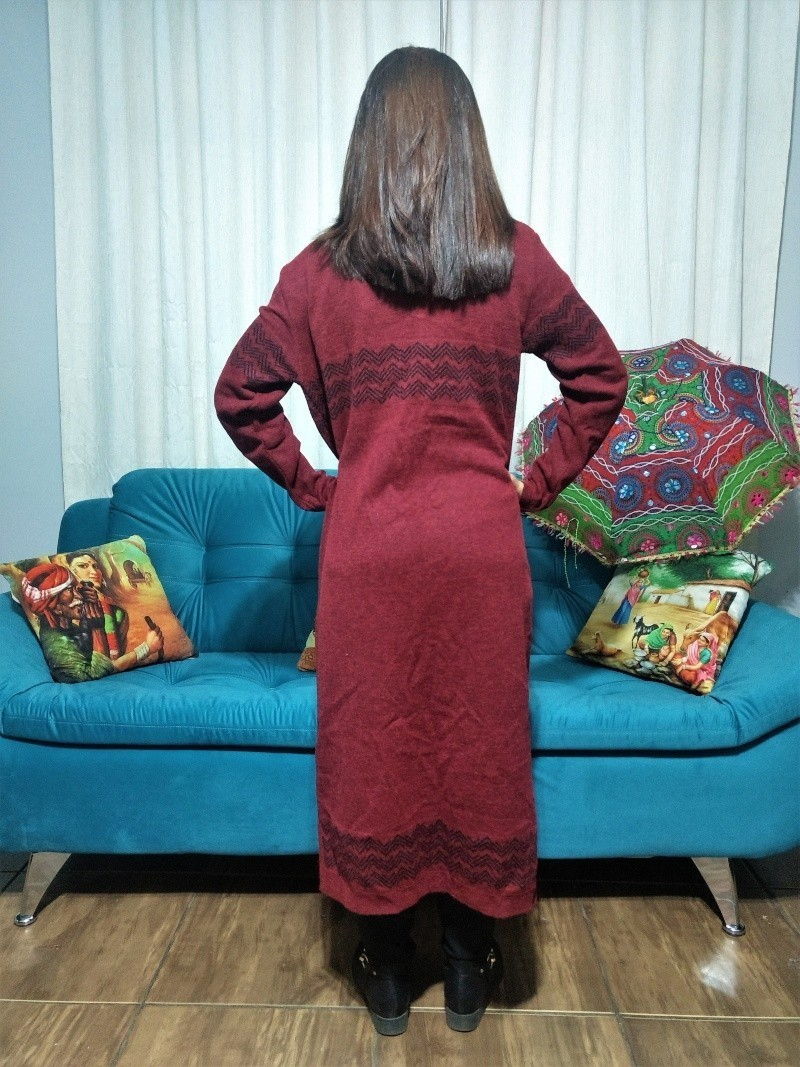 Casaco Boho De Tricot Longo Vinho