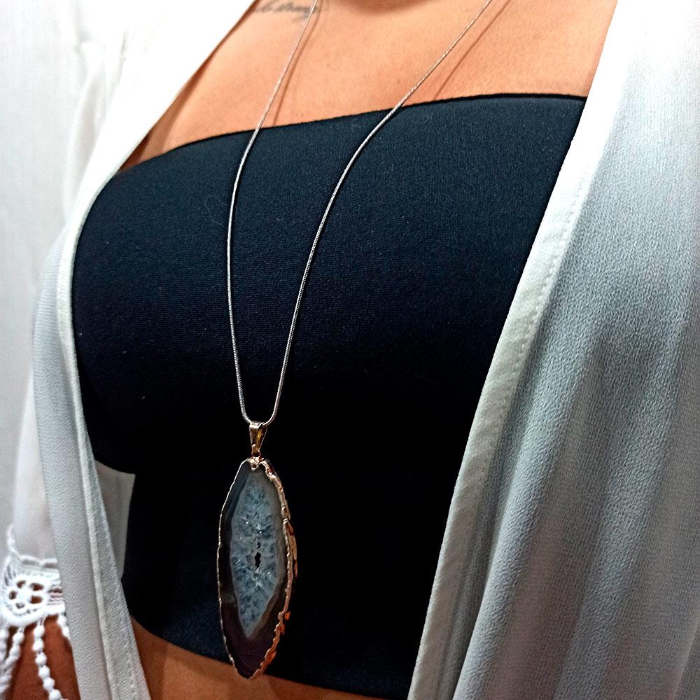 Colar Amuleto Cristal Prata