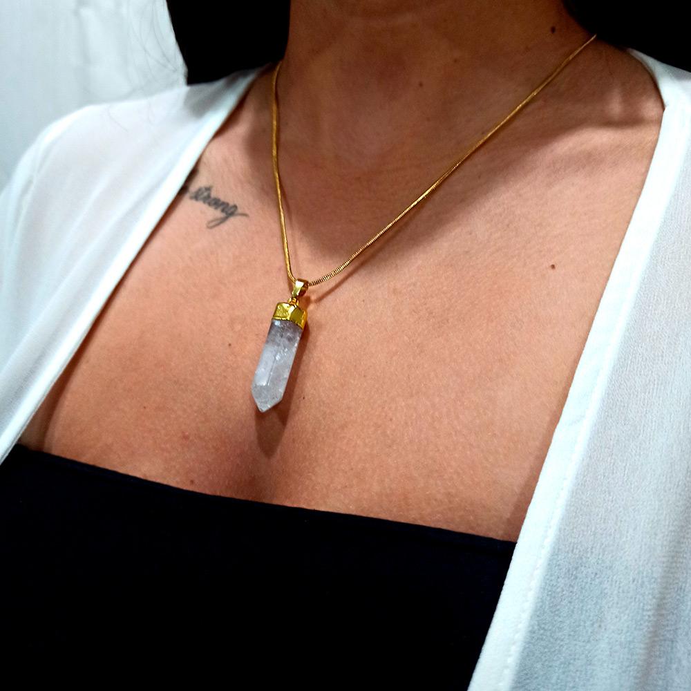 Colar Amuleto Quartzo Cristal