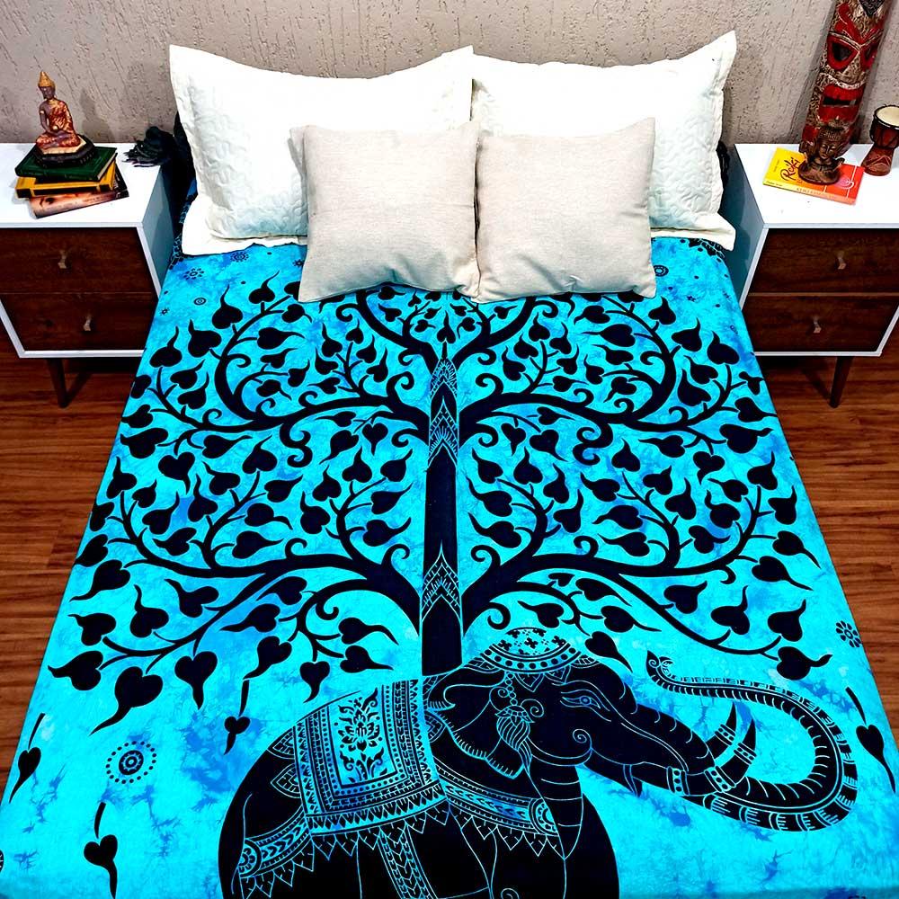 Colcha Indiana Casal Árvore Da Vida Azul Cobre Leito Painel