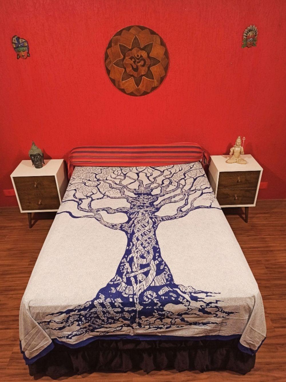 Colcha Indiana Casal Arvore Da Vida Azul / Laranja Cobre Leito Painelvvv