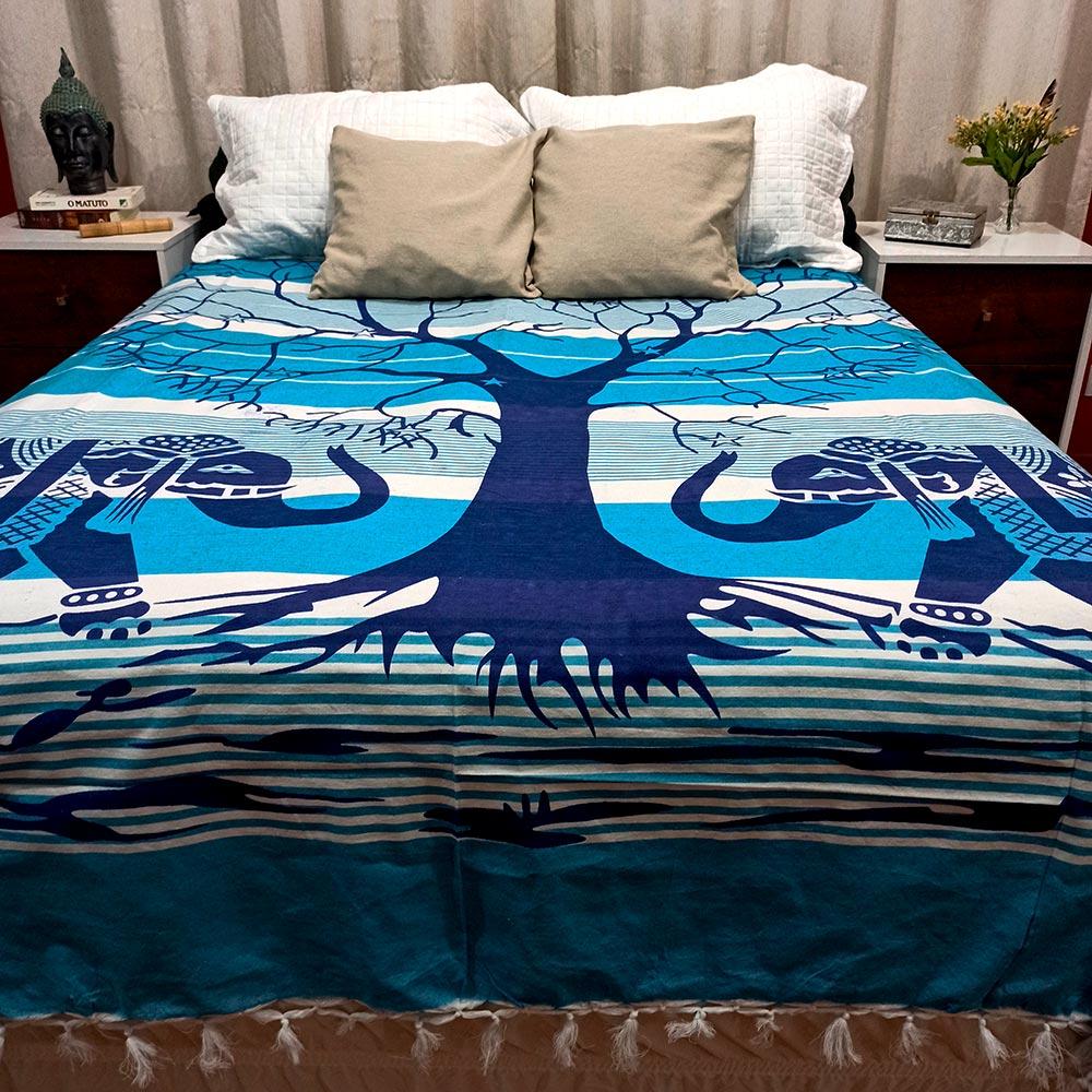 Colcha Indiana Casal Arvore da Vida Azul Painel Cobre Leito