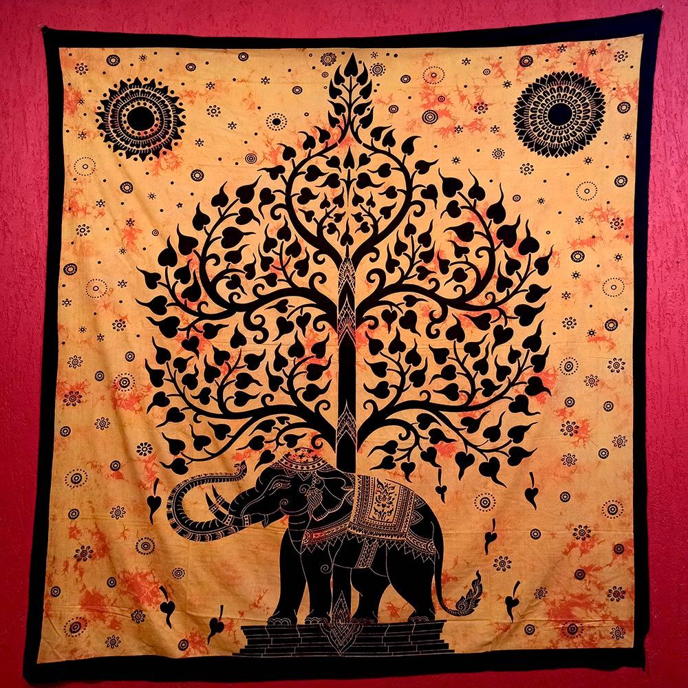 Colcha Indiana Casal Arvore da Vida Elefante Cobre Leito Painel