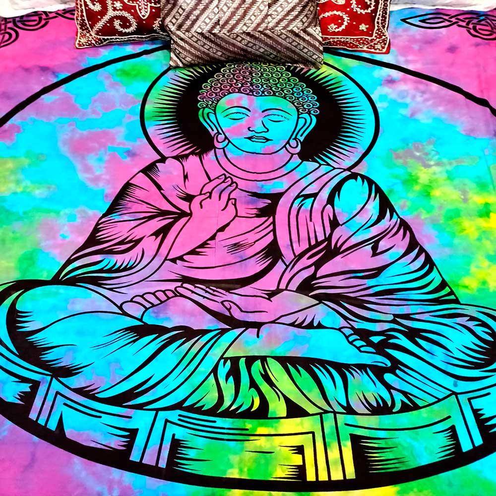 Colcha Indiana Casal Buda Anil Cobre Leito Painel