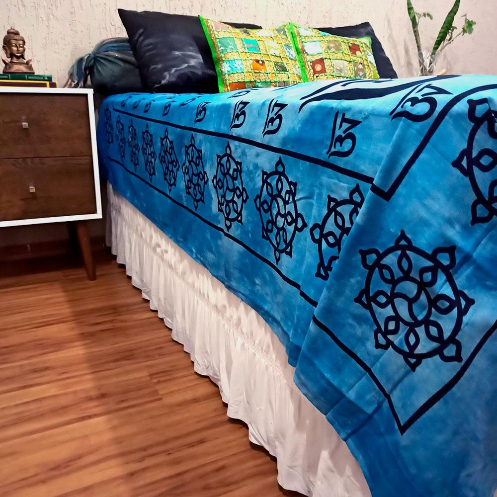 Colcha Indiana Casal Buda Azul Tie Dye Cobre Leito Painel