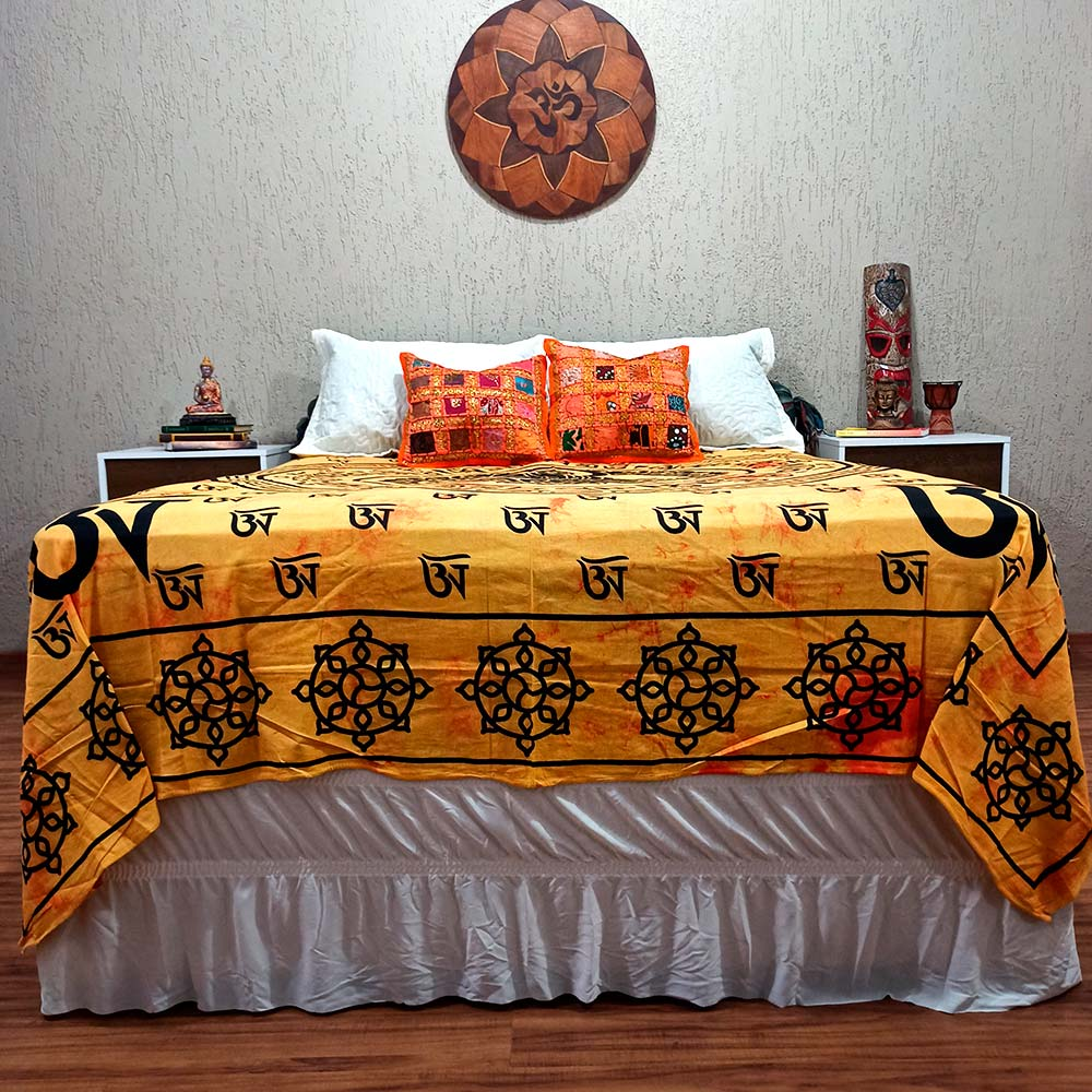 Colcha Indiana Casal Buda Tie Die Cobre Leito Painel