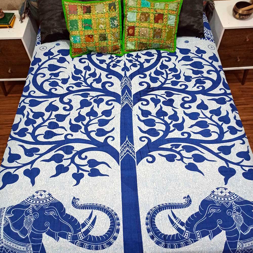 Colcha Indiana Casal Elefante Arvore da Vida Cobre Leito Painel