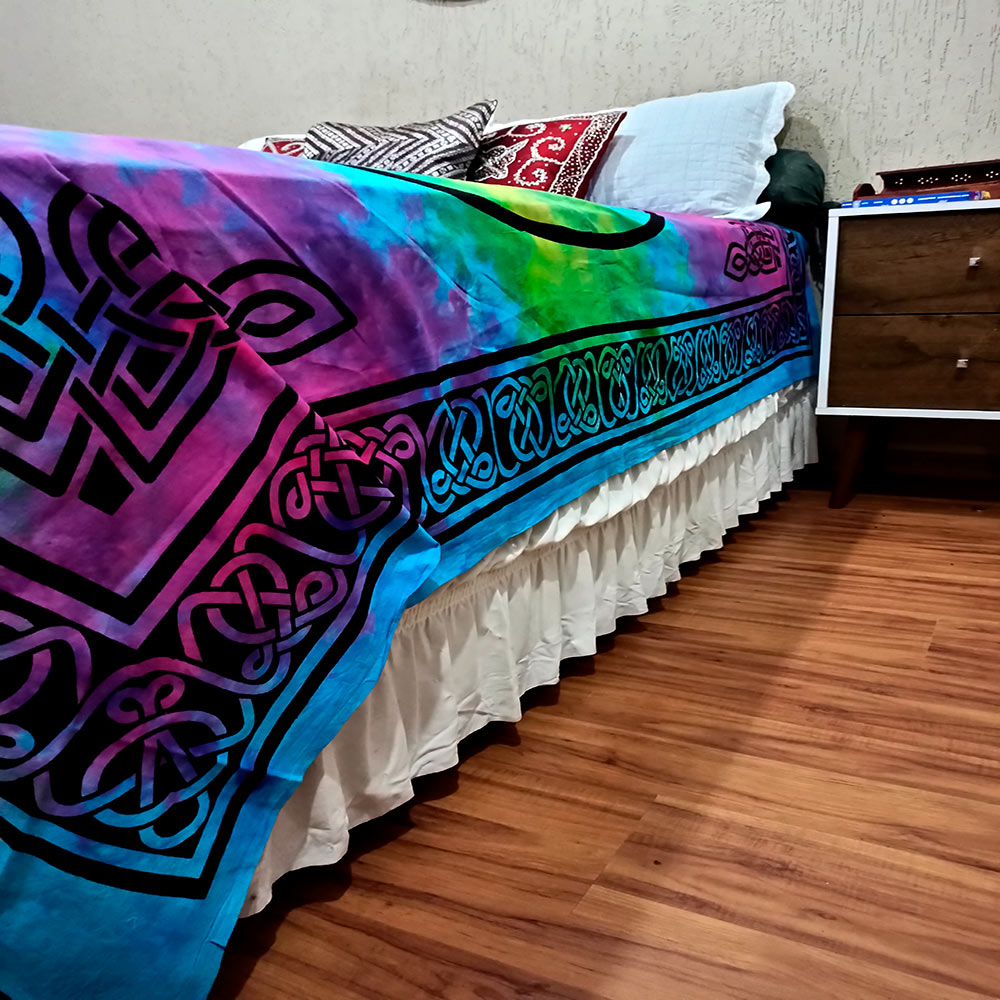 Colcha Indiana Casal Dragao Tie Dye Cobre Leito Painel