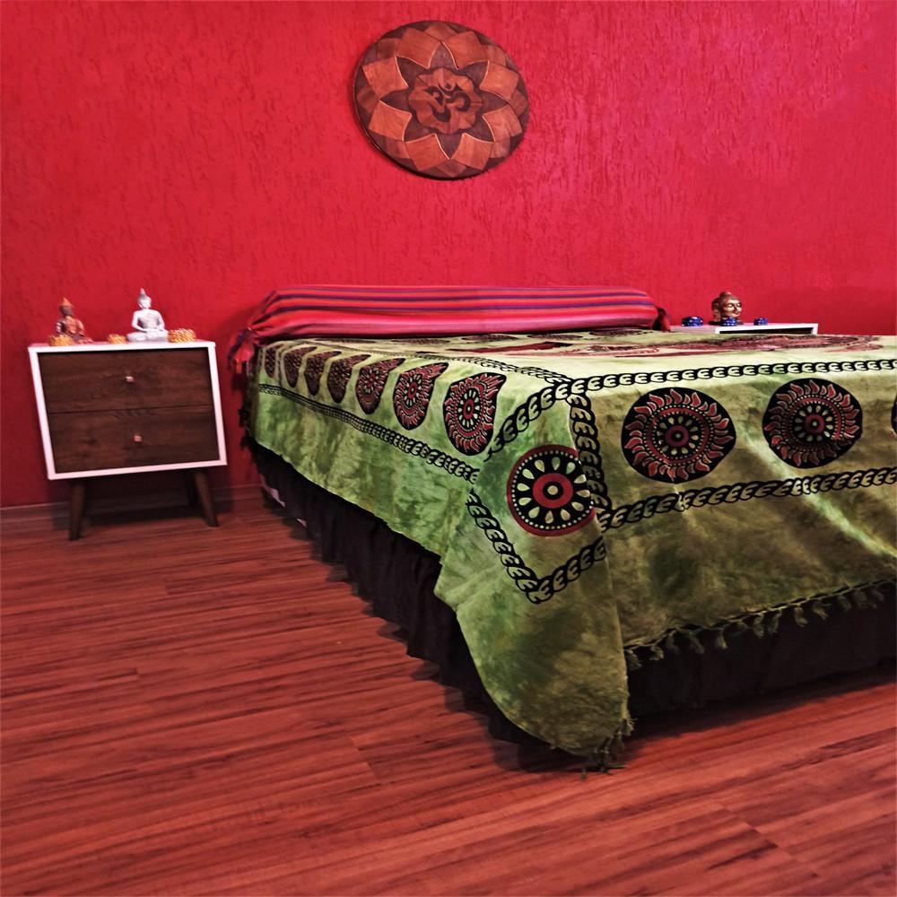 Colcha Indiana Casal Filtro dos Sonhos Verde Painel Cobre Leito