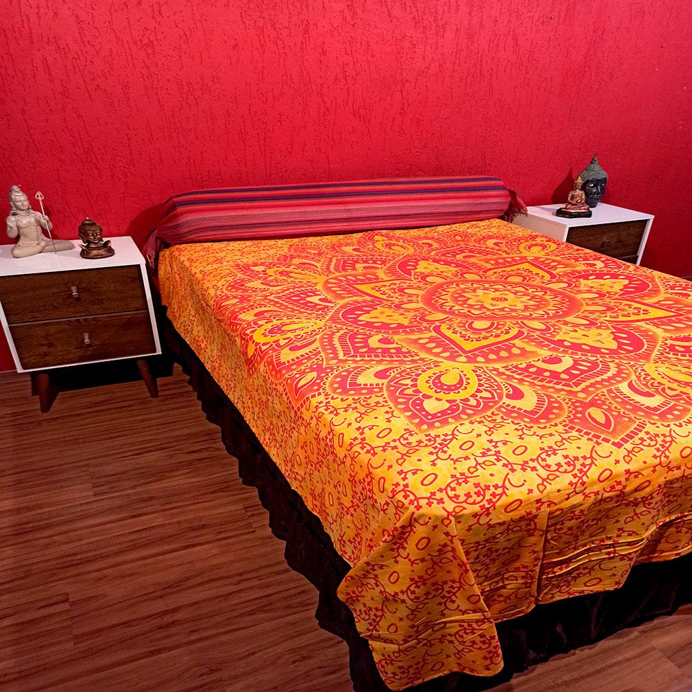 Colcha Indiana Casal Flor Lotus Amarela Cobre Leito Painel