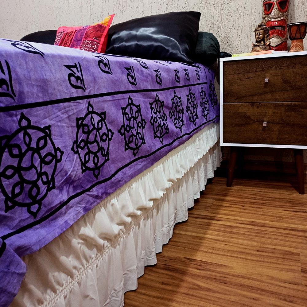 Colcha Indiana Casal Ganesha OM Violeta Cobre Leito Painel
