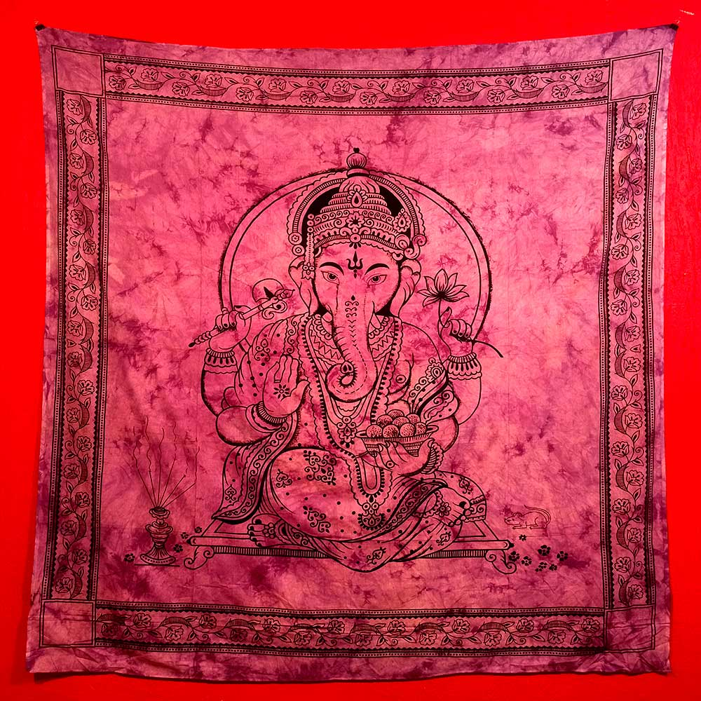Colcha Indiana Casal Ganesha Rose Cobre Leito Painel