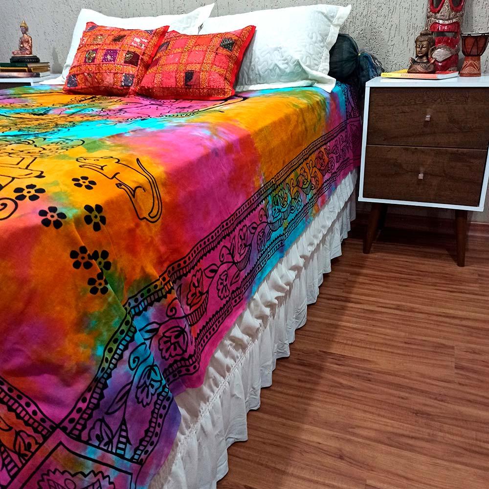 Colcha Indiana Casal Ganesha Tie Dye Cobre Leito Painel