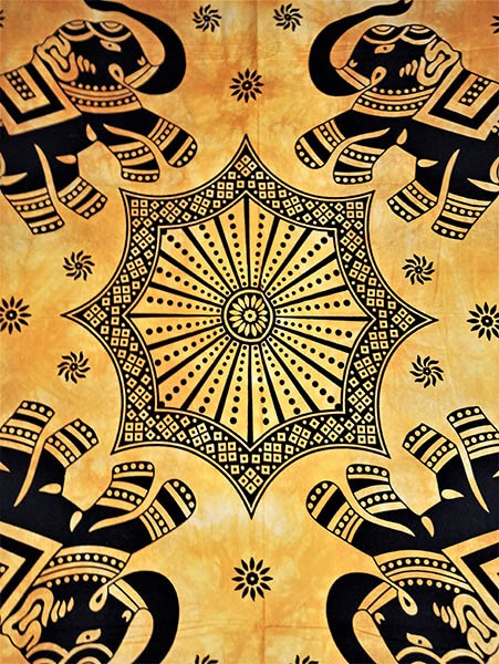 Colcha Indiana Casal Mandala Amarela Painel Cobre Leito