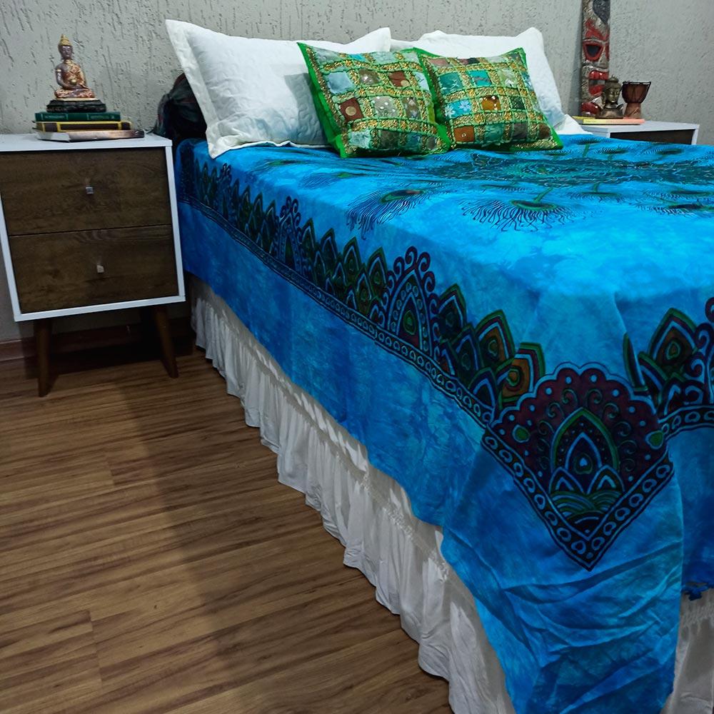 Colcha Indiana Casal Mandala Azul Cobre Leito Painel